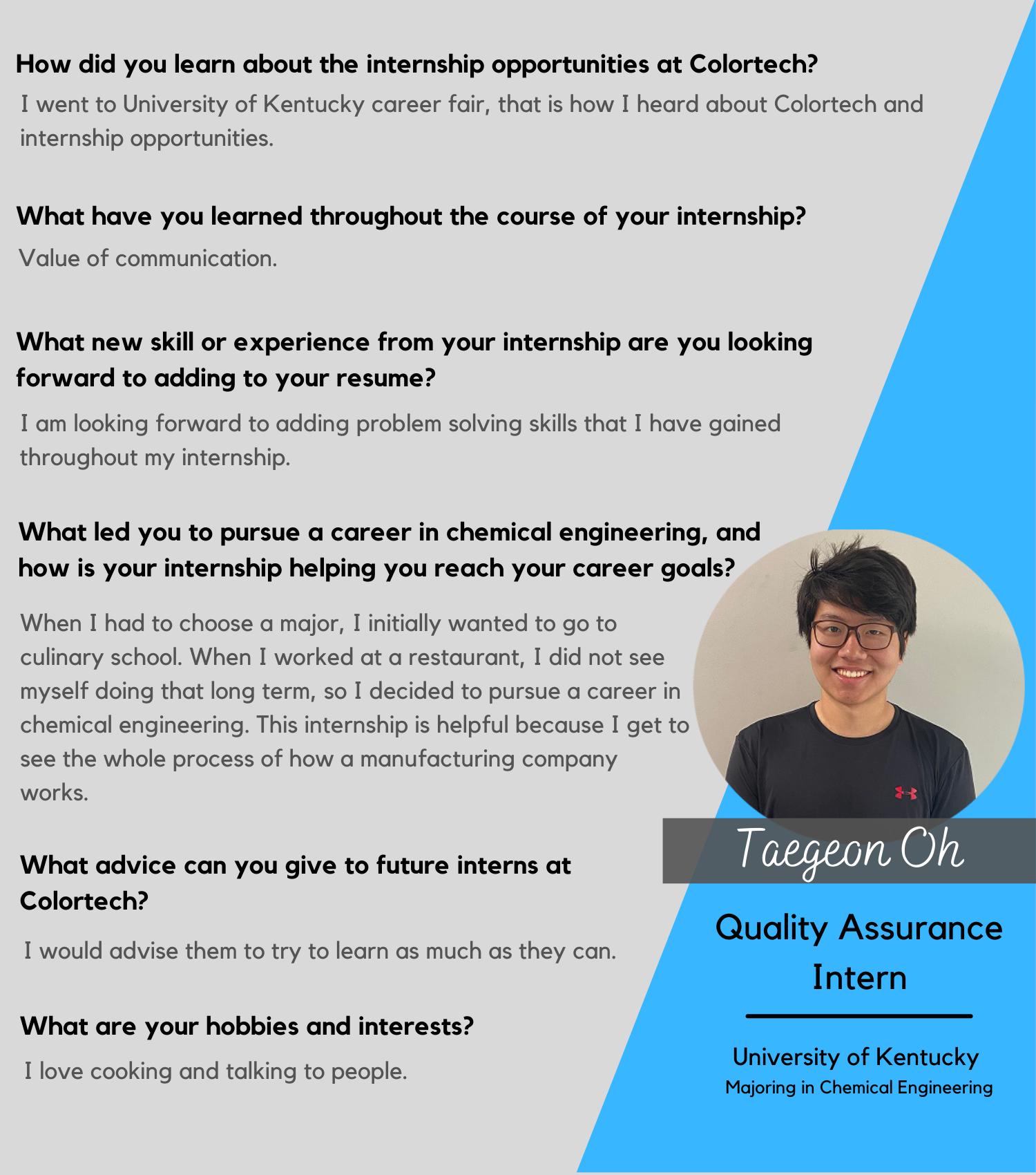 Taegon Oh, Quality Assurance Intern